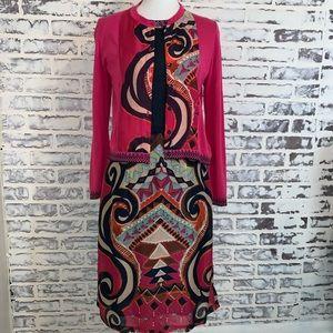 Anthropologie Aldomartins Patterned Dress Cardigan
